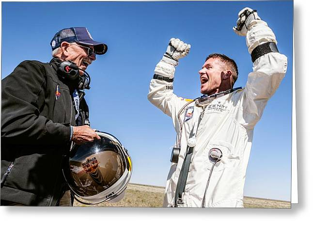 Felix Baumgartner After Freefall Greeting Card by Science Photo Library