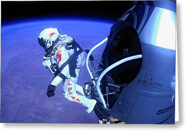 Felix Baumgartner Jumping From Capsule Greeting Card by Science Photo Library
