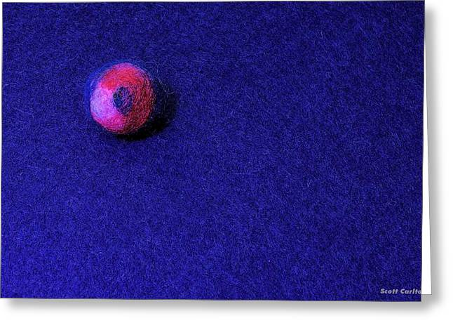 Felt Ball On Blue Felt Greeting Card