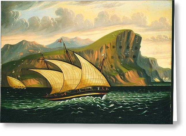 Felucca Off Gibraltar Greeting Card