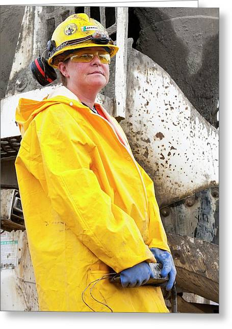 Female Construction Worker Greeting Card by Ashley Cooper