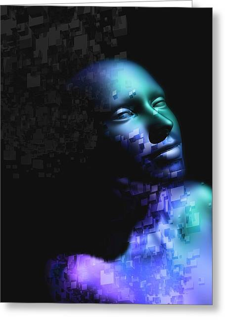 Female Cyborg Greeting Card by Victor Habbick Visions