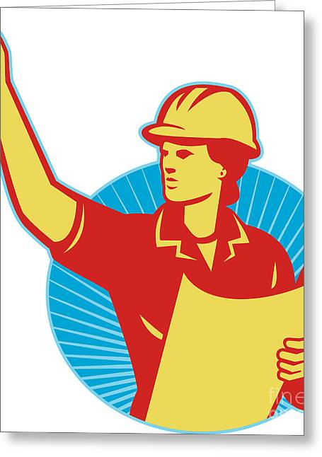 Female Engineer Construction Worker Pointing Retro Greeting Card by Aloysius Patrimonio