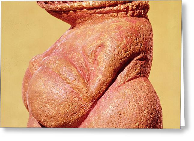 Female Figurine Known As The Venus Of Willendorf, Side View Detail Of Torso, Gravettian Culture Greeting Card by Paleolithic