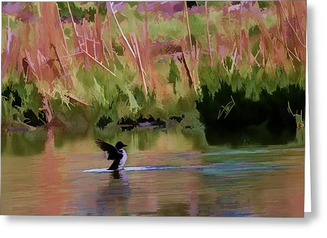 Female Goldeneye Duck 2 Stretching In The Waters Of Enkoping Sweden By Leif Sohlman Greeting Card by Leif Sohlman