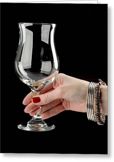Female Hand Holding Wine Glass Greeting Card by Nikita Buida