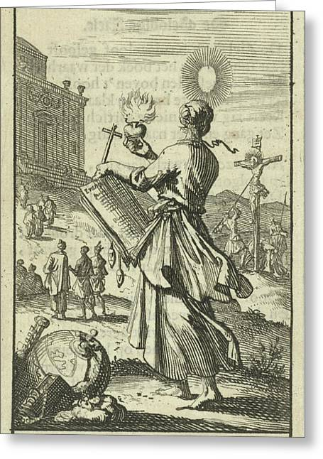 Female Holding A Burning Heart, Beholds The Crucified Christ Greeting Card by Jan Luyken And Gijsbert De Groot