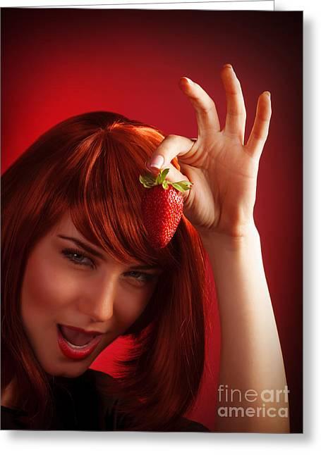 Female Holding Strawberry Greeting Card
