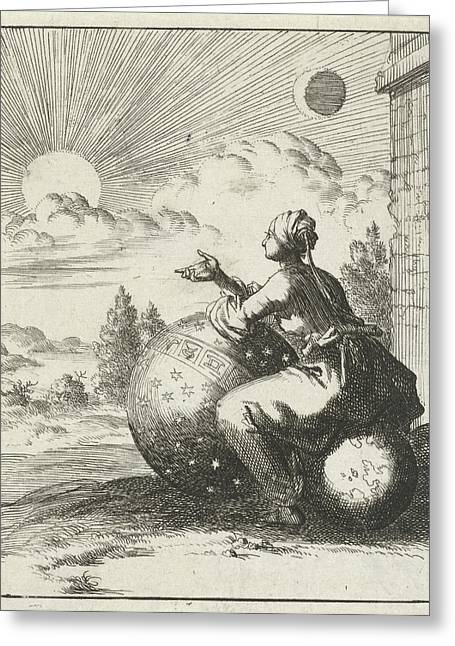 Female Looking At The Setting Sun While Sitting On A Globe Greeting Card by Jan Luyken And Pieter Arentsz (ii)
