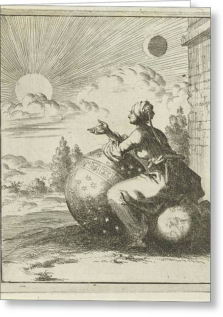 Female Looking, Sitting On A Globe And Leaning Greeting Card by Litz Collection