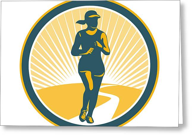 Female Marathon Runner Circle Retro Greeting Card