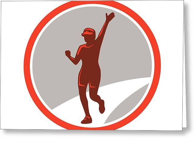 Female Marathon Runner Running Circle Retro Greeting Card
