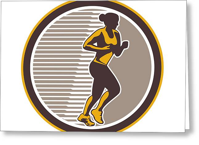 Female Marathon Runner Side View Retro Greeting Card by Aloysius Patrimonio