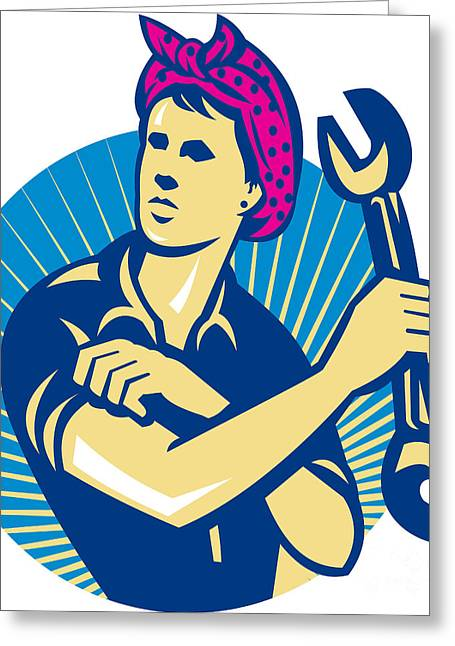 Female Mechanic Worker With Spanner Retro Greeting Card by Aloysius Patrimonio