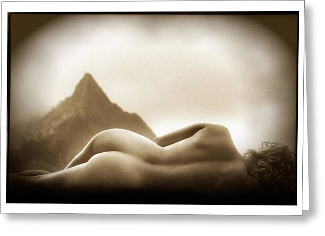Female Nude At Mt. Pali Hawaii Greeting Card