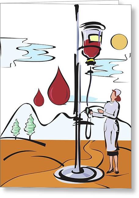 Female Nurse Holding Iv Stand Greeting Card by Fanatic Studio / Science Photo Library