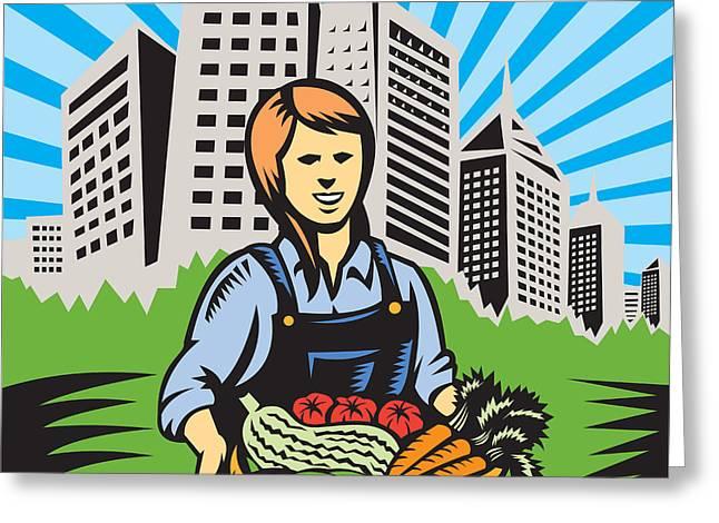 Female Organic Farmer Urban Greeting Card by Aloysius Patrimonio