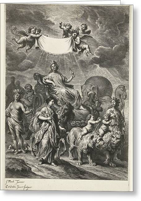 Female Personification Of Geography On Chariot Greeting Card by Cornelis Van Dalen Ii