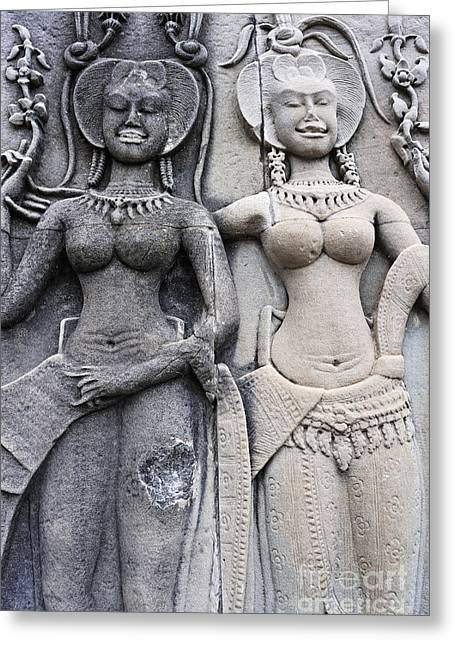 Female Representation Carving On Temple Greeting Card by Sami Sarkis