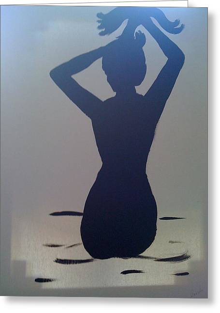 Greeting Card featuring the painting Female Silhouette by Judi Goodwin
