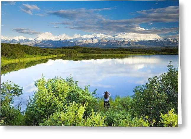 Female Tourist Viewing Mt Mckinley From Greeting Card by Michael DeYoung