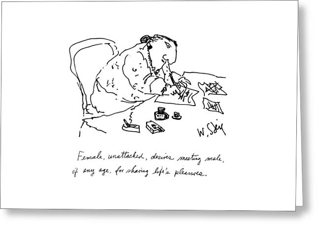 Female, Unattached, Desires Meeting Male, Of Any Greeting Card by William Steig