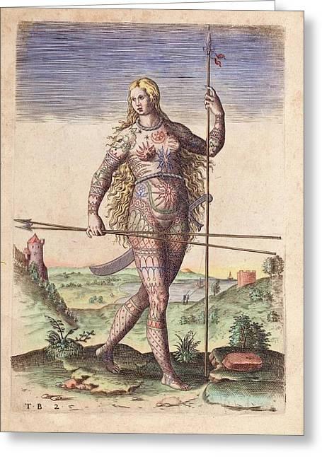 Female Warrior Greeting Card by Paul D Stewart
