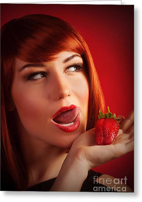 Female With Strawberry Greeting Card