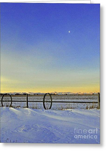 Fence And Moon Greeting Card by Desiree Paquette