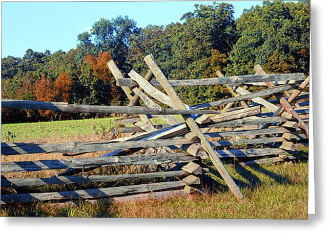 Fence At Gettysburg National Military Greeting Card by Panoramic Images