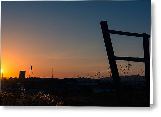 Fence At Sunset II Greeting Card by Marco Oliveira