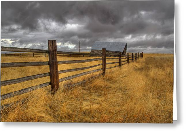 Fence Line In Storm Greeting Card by Jean Noren