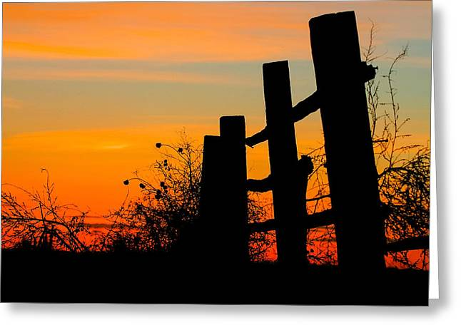 Fence Line With Vibrant Sky Greeting Card by Kirk Strickland