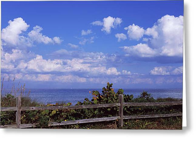 Fence On The Beach, Tampa Bay, Gulf Of Greeting Card