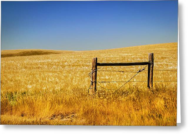 Fence Post Near Choteau Montana Painted Greeting Card by Rich Franco