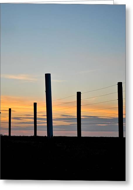 Fence Posts At Sunset Greeting Card