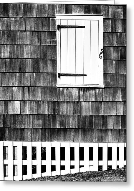 Fence Shutter And Weathered Wall Greeting Card