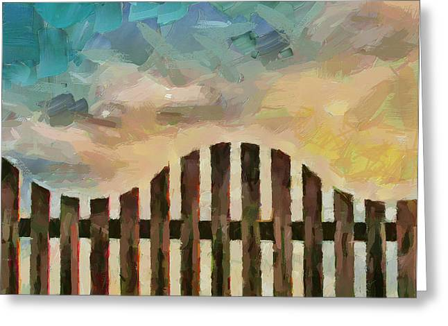 Fence Sunset Greeting Card