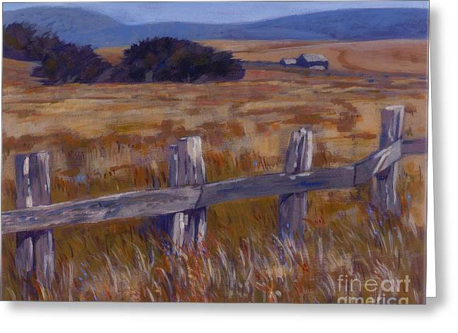 Fenced Field - Point Arenas Ca Greeting Card by Betsee  Talavera