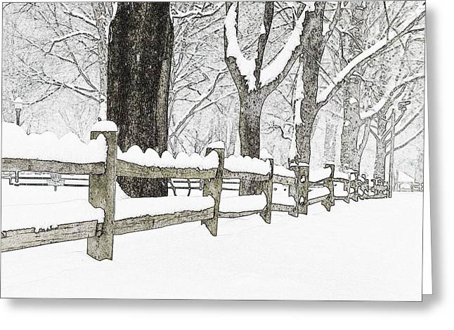 Fenced In Forest Greeting Card