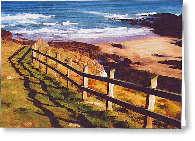 Fencing The Ocean Dunes Greeting Card by Elaine Plesser