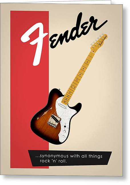 Fender All Things Rock N Roll Greeting Card by Mark Rogan