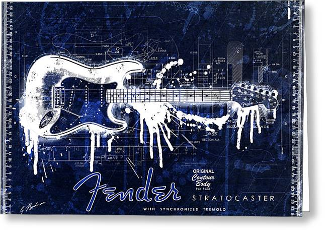 Fender Blueprint Washout Greeting Card by Gary Bodnar