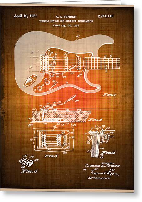 Fender Guitar Patent Blueprint Drawing Sepia Greeting Card by Tony Rubino