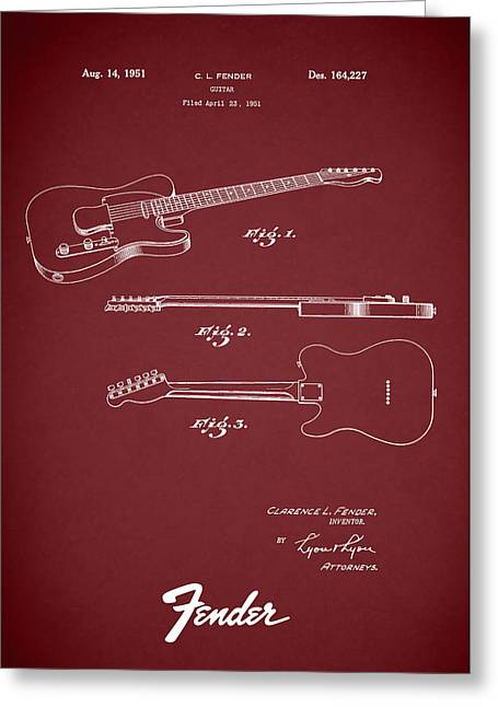 Fender Guitar Patent 1951 Greeting Card