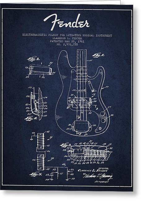Fender Guitar Patent Drawing From 1961 Greeting Card by Aged Pixel