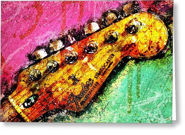 Fender Headstock 1 Greeting Card by Gary Bodnar