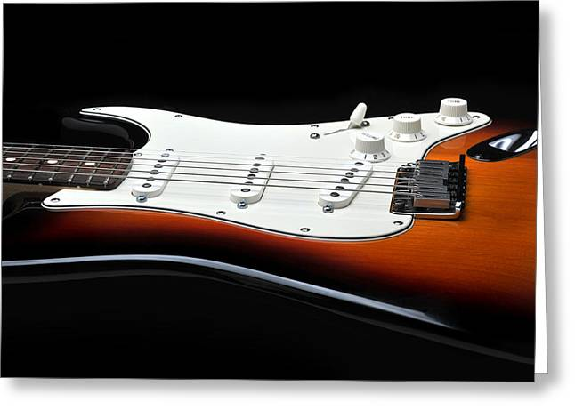 Fender Stratocaster Guitar On Black Background Greeting Card