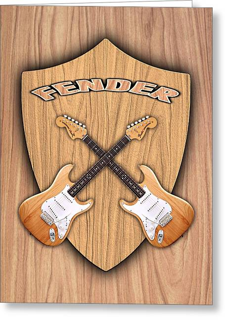 Fender Stratocaster Natural Color Shield Greeting Card by Doron Mafdoos