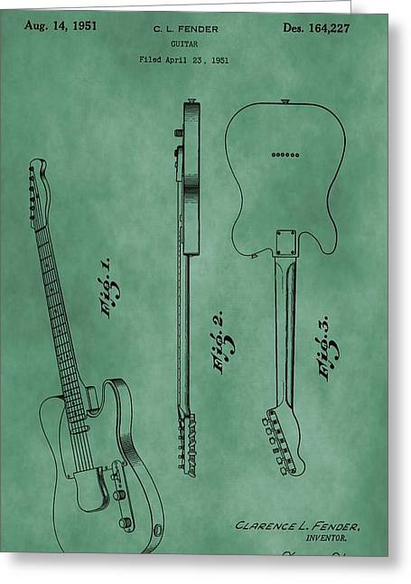 Fender Telecaster Patent Green Greeting Card by Dan Sproul